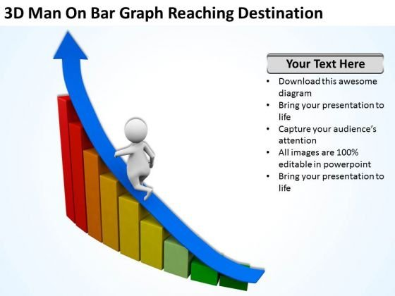 Top Business People 3d Man On Bar Graph Reaching Destination PowerPoint Slides