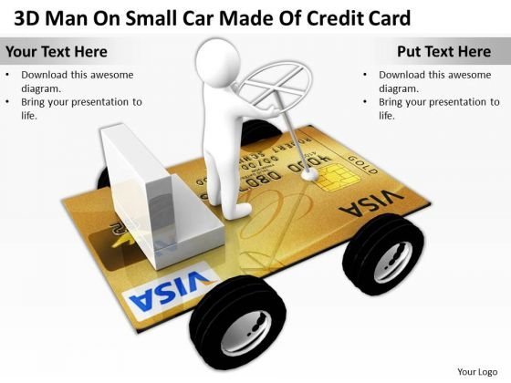 Top Business People 3d Man On Small Car Made Of Credit Card PowerPoint Slides