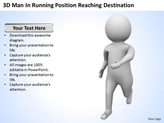 Top Business People 3d Man Running Position Reaching Destination PowerPoint Slides
