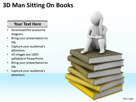 Top Business People 3d Man Sitting On Books PowerPoint Templates