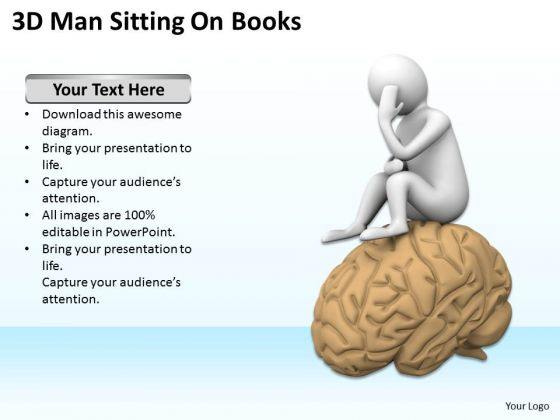 Top Business People 3d Man Sitting On Brain PowerPoint Templates