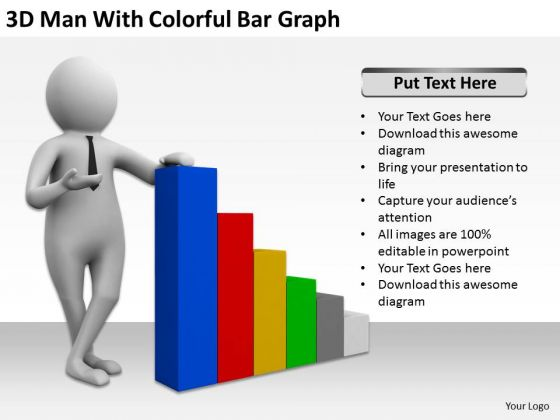 Top Business People 3d Man With Colorful Bar Graph PowerPoint Templates