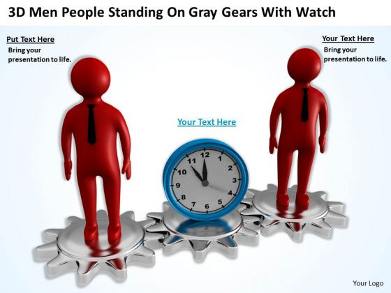 Top Business People 3d Men Standing On Gray Gears With Watch PowerPoint Slides