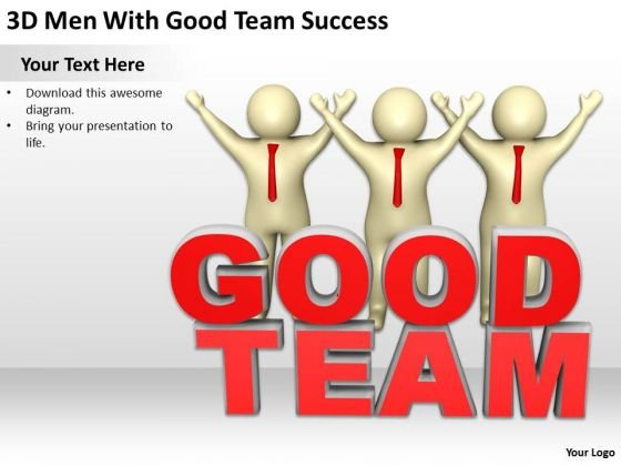 Top Business People 3d Men With Good Team Success PowerPoint Templates