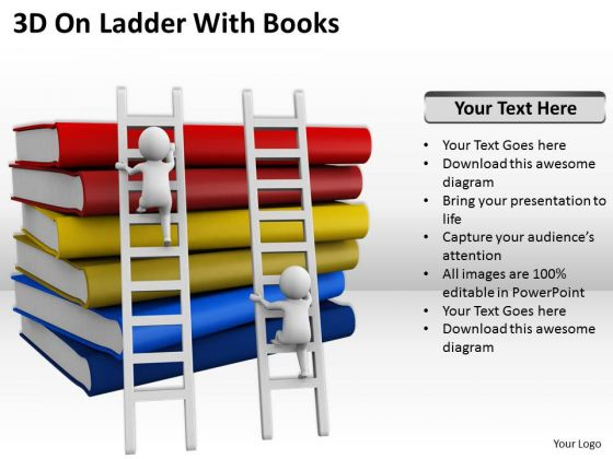 Top Business People 3d On Ladder With Books PowerPoint Templates