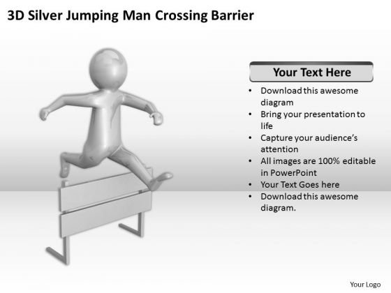 Top Business People 3d Silver Jumping Man Crossing Barrier PowerPoint Templates