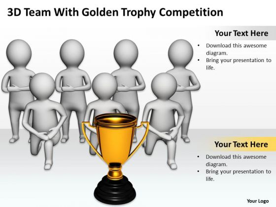 Top Business People 3d Team With Golden Trophy Competition PowerPoint Templates