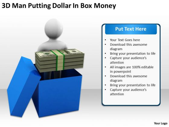 Top Business People Man Putting Dollar Box Money PowerPoint Templates Ppt Backgrounds For Slides