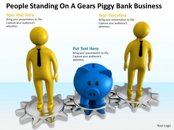 Top Business People On A Gears Piggy Bank PowerPoint Templates Download Slides