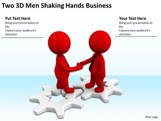 Top Business People Two 3d Men Shaking Hands PowerPoint Templates