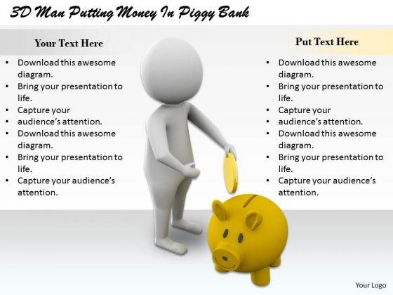 Total Marketing Concepts 3d Man Putting Money Piggy Bank Business