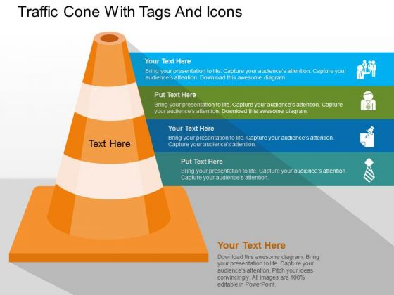 Traffic Cone With Tags And Icons PowerPoint Templates