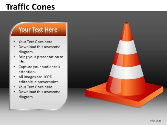 Traffic Cone With Text Box PowerPoint Templates Editable Ppt Slides