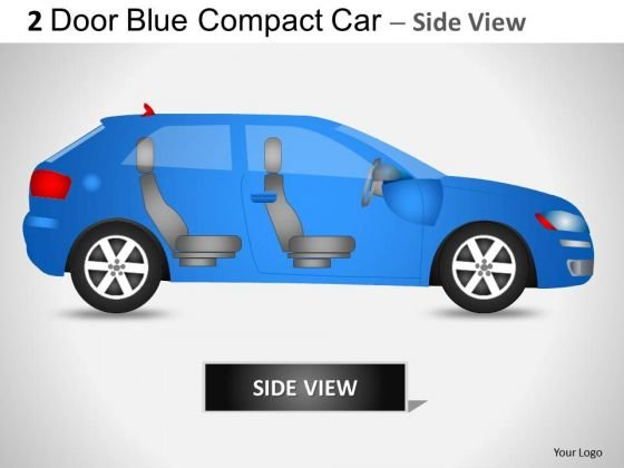 Transportation 2 Door Blue Car Side PowerPoint Slides And Ppt Diagram Templates