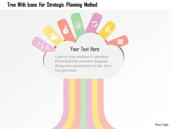 Tree With Icons For Strategic Planning Method Presentation Template