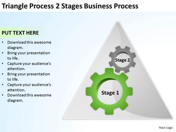 Triangle Process 2 Stages Business Ppt Plan PowerPoint Slides