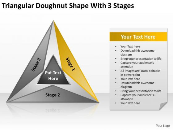 Triangular Doughnut Shape With 3 Stages Business Plans That Work PowerPoint Slides