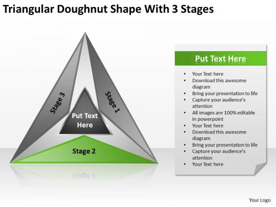 Triangular Doughnut Shape With 3 Stages Ppt Writing Business Plan PowerPoint Templates