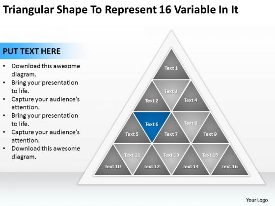 Triangular Shape To Represent 16 Variable In It Ppt Free Sample Business Plans PowerPoint Slides