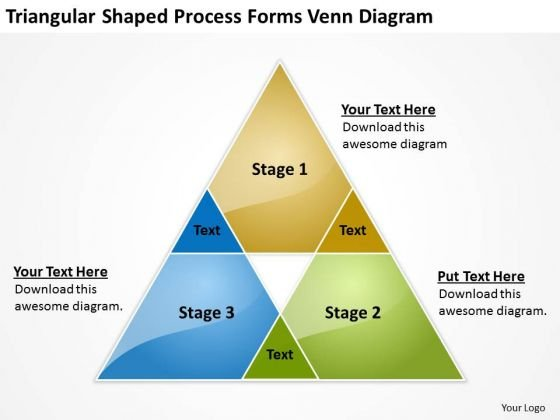 Triangular Shaped Process Forms Venn Diagram Business Plan Template PowerPoint Templates