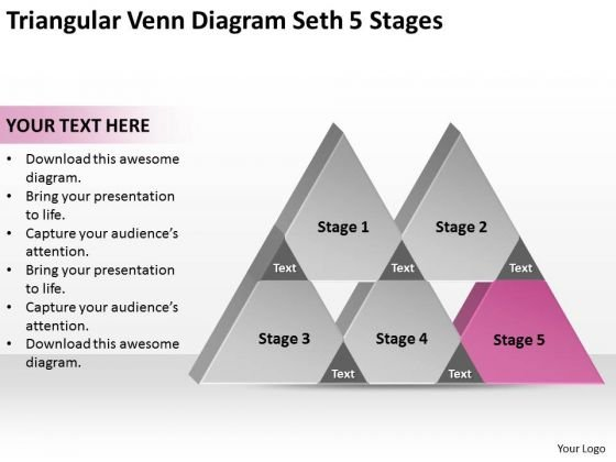 Triangular Venn Diagram Seth 5 Stages Ppt Business Plan For Bakery PowerPoint Templates