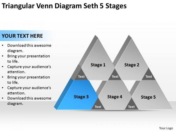 Triangular Venn Diagram Seth 5 Stages Ppt Successful Business Plan PowerPoint Slides