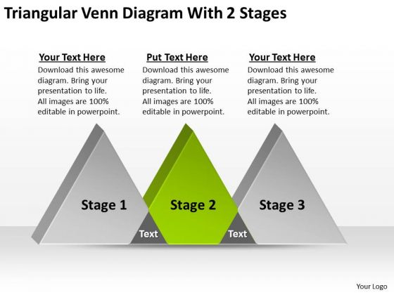 Triangular Venn Diagram With 2 Stages Ppt Blank Business Plan Template PowerPoint Templates
