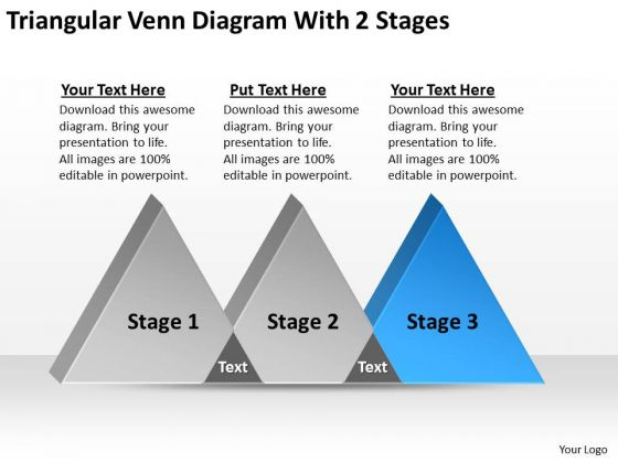 Triangular Venn Diagram With 2 Stages Ppt Business Plan Marketing PowerPoint Templates