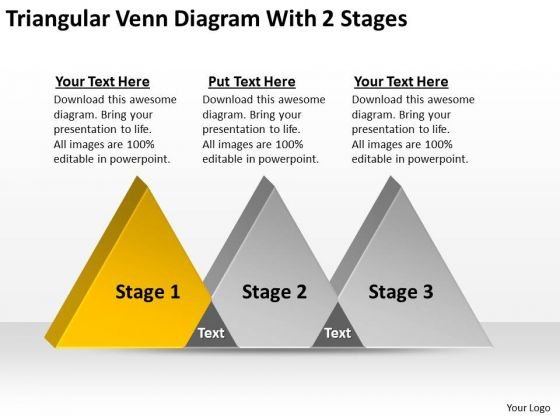 Triangular Venn Diagram With 2 Stages Ppt Business Plan PowerPoint Templates