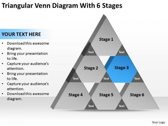 Triangular Venn Diagram Wth 6 Stages Ppt Great Business Plan Examples PowerPoint Slides