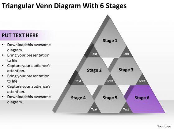 Triangular Venn Diagram Wth 6 Stages Ppt Sales Plan PowerPoint Templates