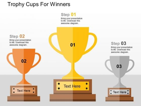 Trophy Cups For Winners PowerPoint Templates