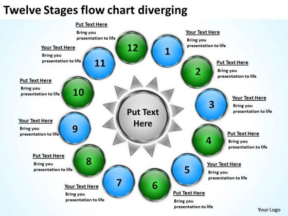 Twelve Stages Flow Chart Diverging Charts And PowerPoint Slides