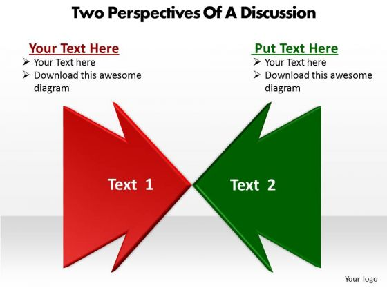 Two Perspectives Of A Discussion Cycle Chart PowerPoint Slides
