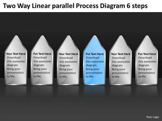 Two Way Linear Parallel Process Diagram 6 Steps Business Plans Online PowerPoint Slides