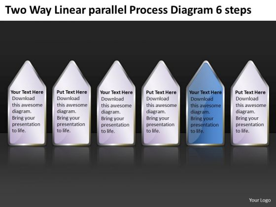 Two Way Linear Parallel Process Diagram 6 Steps Small Business Plan PowerPoint Slides