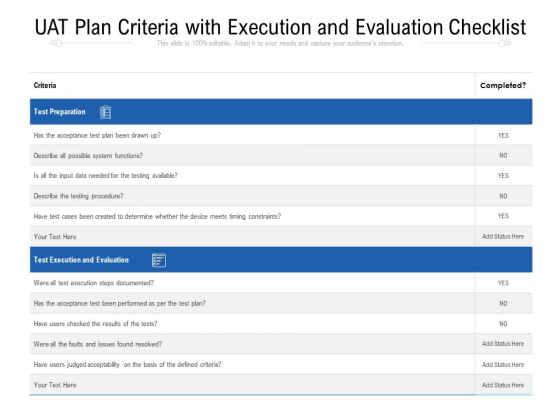 UAT Plan Criteria With Execution And Evaluation Checklist Ppt PowerPoint Presentation File Graphics Design PDF