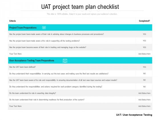 UAT Project Team Plan Checklist Ppt PowerPoint Presentation File Samples PDF