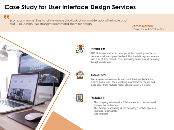 UI Software Design Case Study For User Interface Design Services Ppt Infographics Visual Aids PDF