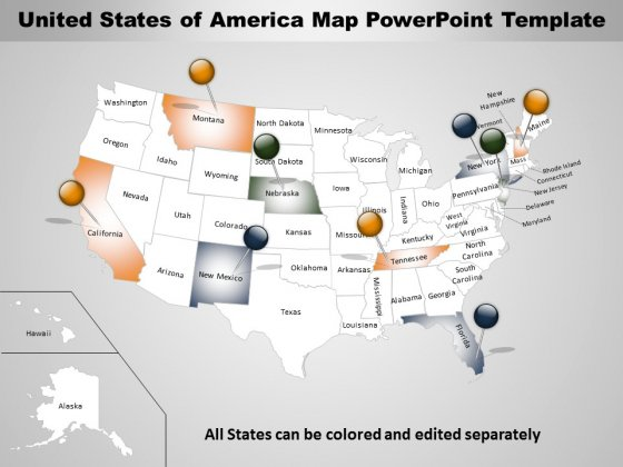 USA Map Free PowerPoint Diagram