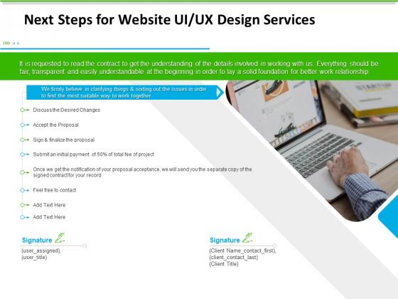 UX Design Services Next Steps For Website UI UX Design Services Formats PDF