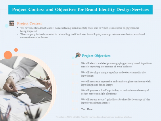 Ultimate Brand Creation Corporate Identity Project Context And Objectives For Brand Identity Design Services Portrait PDF