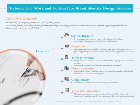 Ultimate Brand Creation Corporate Identity Statement Of Work And Contract For Brand Identity Design Services Rules PDF