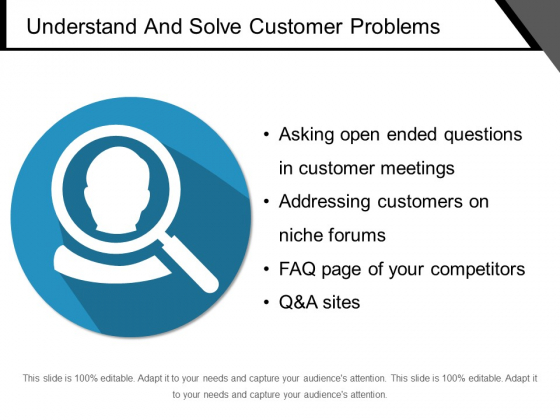 Understand And Solve Customer Problems Ppt PowerPoint Presentation Layouts Graphics Template