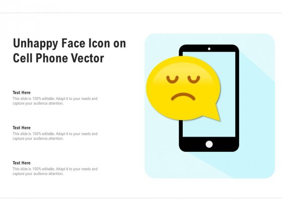 Unhappy Face Icon On Cell Phone Vector Ppt PowerPoint Presentation File Templates PDF