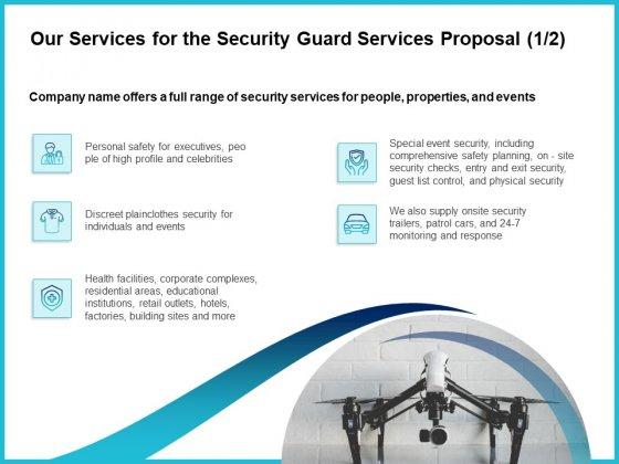 Uniformed Security Our Services For The Security Guard Services Proposal Icons PDF