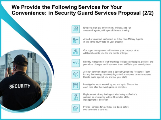 Uniformed Security We Provide The Following Services For Your Convenience In Security Guard Services Proposal Formats PDF
