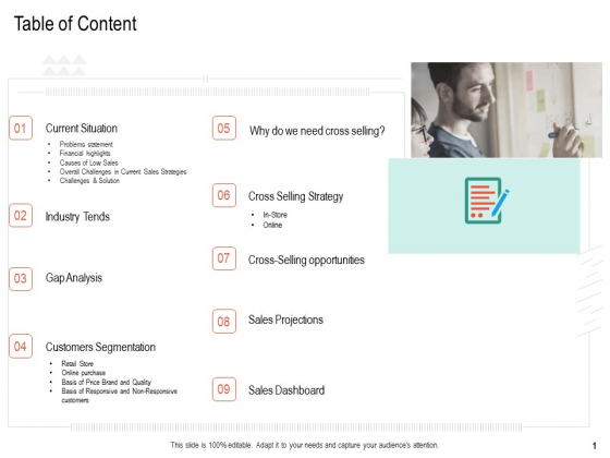 Upselling Strategies For Business Table Of Content Ppt Ideas Show PDF