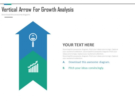 Upward Arrow With Growth Analysis Icons PowerPoint Slides