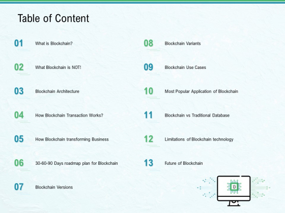 Use Case Of Blockchain Architecture Development Table Of Content Ppt Layouts Outline PDF